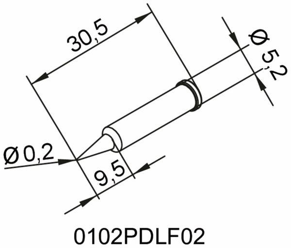 Lötspitze, ERSA, 0102PDLF02/SB, bleistiftspitz, 0,2 mm - Produktbild 2
