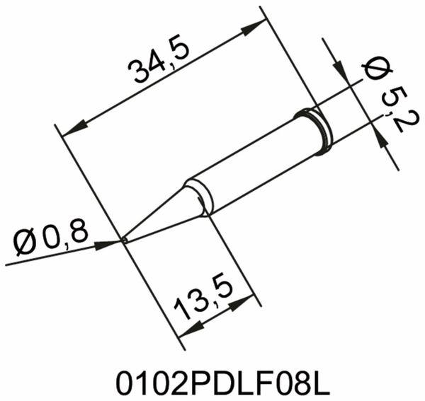 Lötspitze, ERSA, 0102PDLF08L/SB, bleistiftspitz, verlängert, 0,8 mm - Produktbild 2