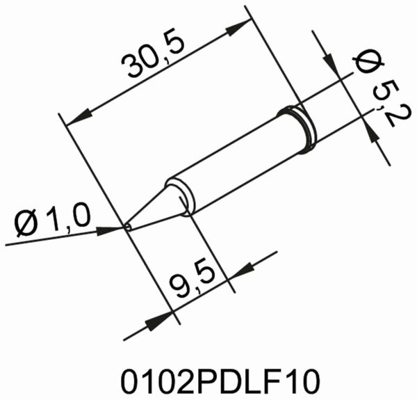 Lötspitze, ERSA, 0102PDLF10/SB, bleistiftspitz, 1,0 mm - Produktbild 2