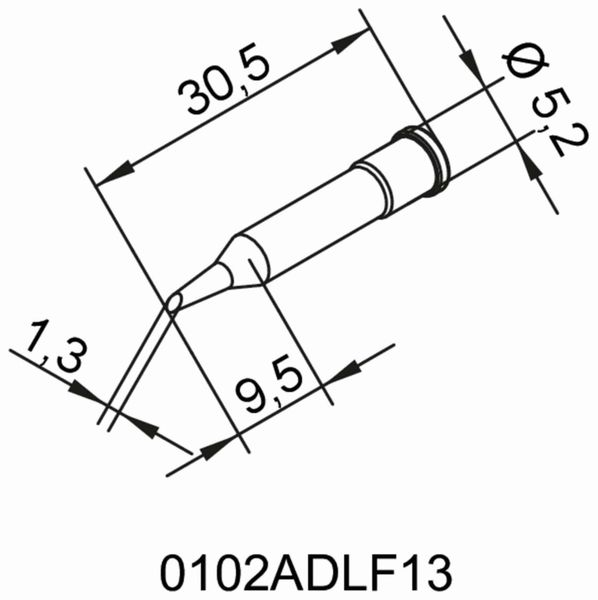 Lötspitze, ERSA, 0102ADLF13/SB, angeschrägt, 1,3 mm - Produktbild 2