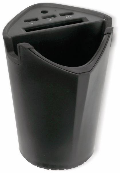 KFZ-Autobecherhalterung ALLRIDE, 3x USB, schwarz - Produktbild 4