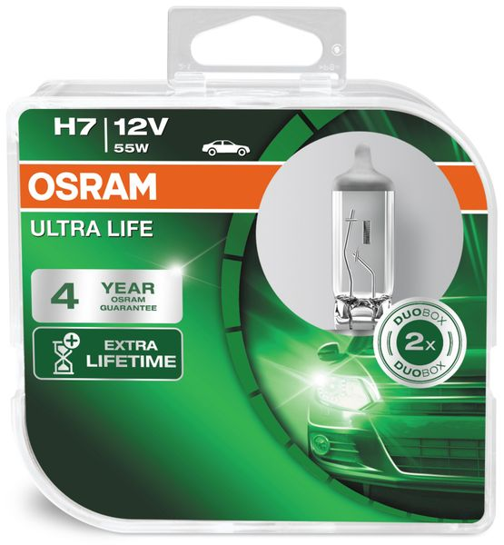Halogen-Autolampe H7 OSRAM ULTRA LIFE 6410ULT, 2 Stück - Produktbild 2