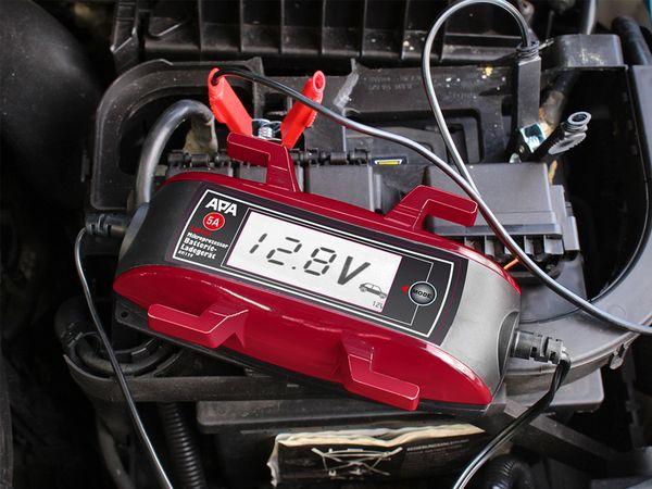 APA Lithium Batterieladegerät 6//12V 5A Ladegerät Erhaltungsgerät Kabelaufroller