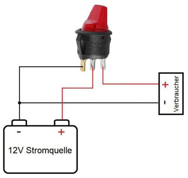 KFZ-Kippschalter, 12 V/6 A, Rot, beleuchtet - Produktbild 3