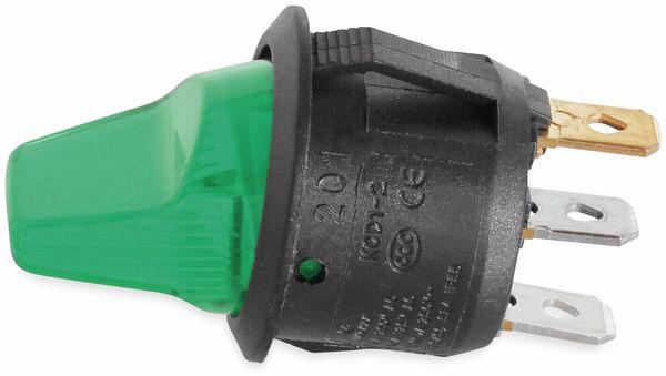 KFZ-Kippschalter, 12 V/6 A, Grün, beleuchtet