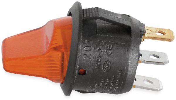 KFZ-Kippschalter, 12 V/6 A, Orange, beleuchtet