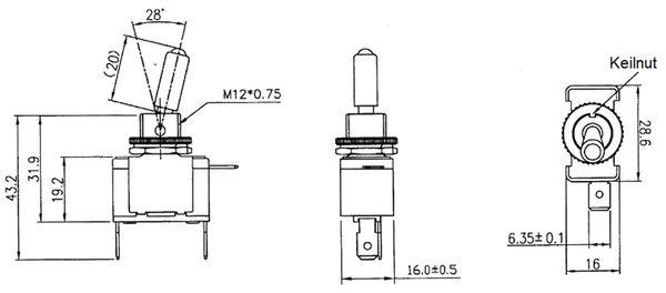 KFZ-Kippschalter, 12V/20A, Gelbe/Orange LED Beleuchtung - Produktbild 2
