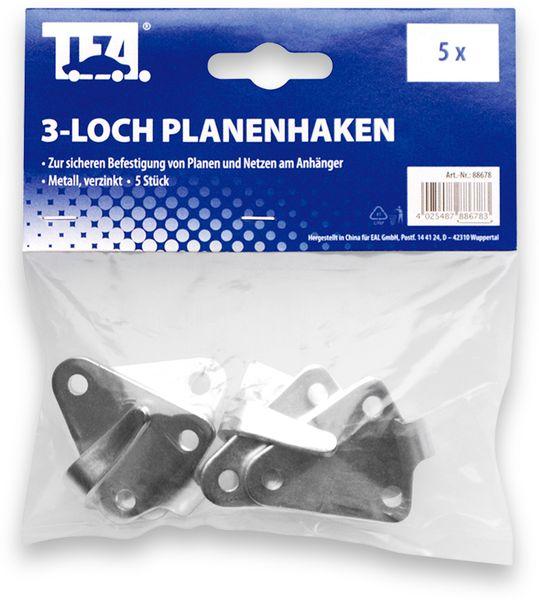 3-Loch Planenhaken LAS 88678, 5 Stück, verzinkt - Produktbild 3