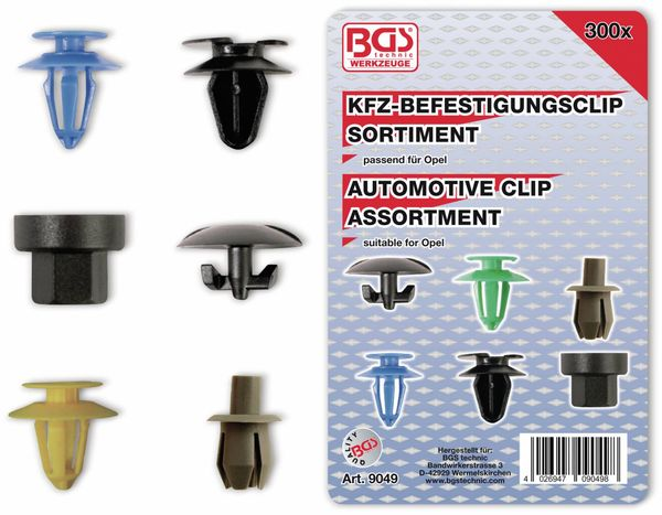 KFZ-Befestigungsclip-Set, BGS, 9049, für Opel, 300-tlg