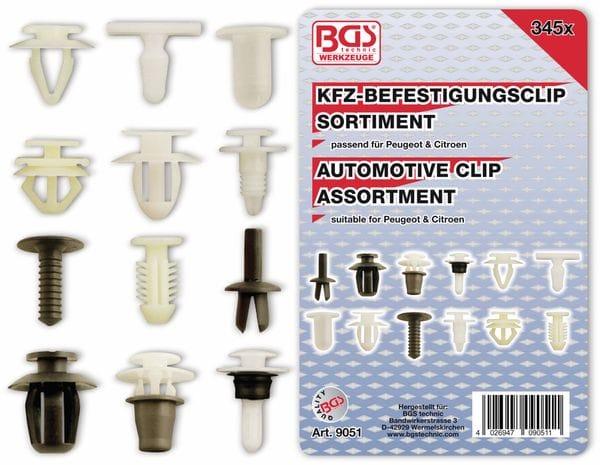 KFZ-Befestigungsclip-Set, BGS, 9051, für Peugeot, Citroen, 345-tlg
