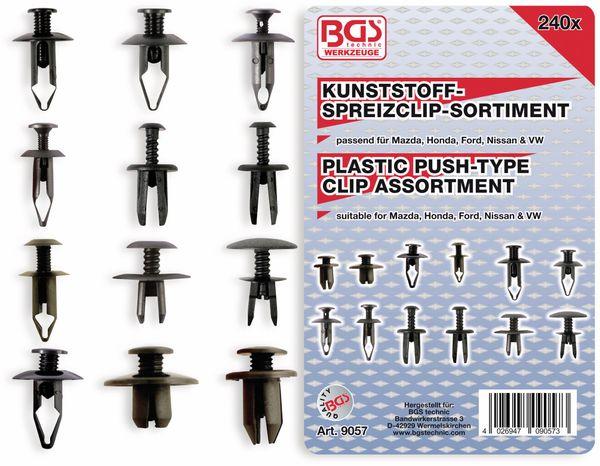 KFZ-Kunstoffspreizclip-Set, BGS, 9057, Mazda, Honda Ford, Nissan, VW, 240-tlg