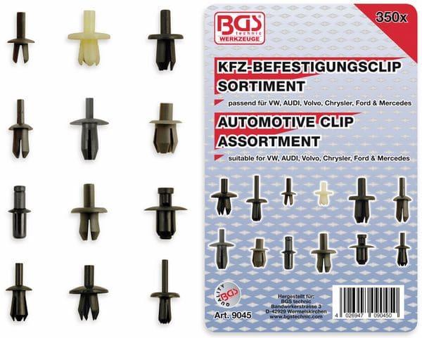 KFZ-Befestigungsclip-Set, BGS, 9045, VW, Audi, Volvo, Chrysler, Ford, Mercedes, 350-tlg