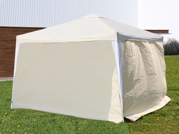 Aluminium-Faltpavillon mit 2 Seitenwänden, 300x300x260 cm, beige - Produktbild 4