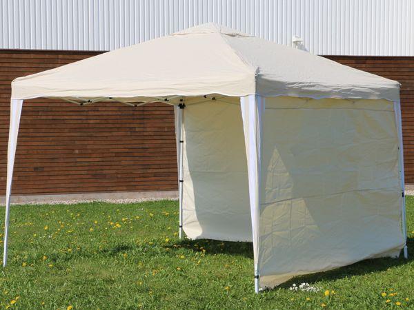Aluminium-Faltpavillon mit 2 Seitenwänden, 300x300x260 cm, beige - Produktbild 5