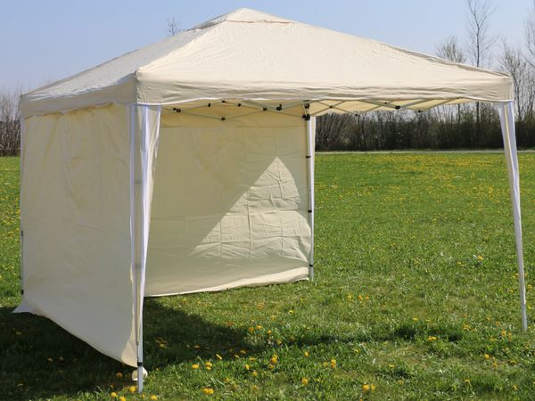 Aluminium-Faltpavillon mit 2 Seitenwänden, 300x300x260 cm, beige - Produktbild 6