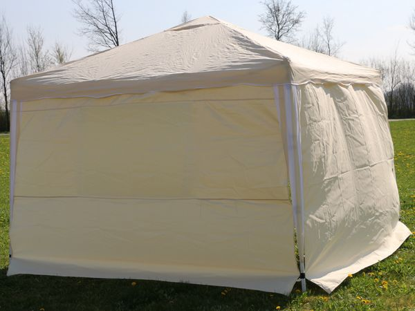 Aluminium-Faltpavillon mit 2 Seitenwänden, 300x300x260 cm, beige - Produktbild 10