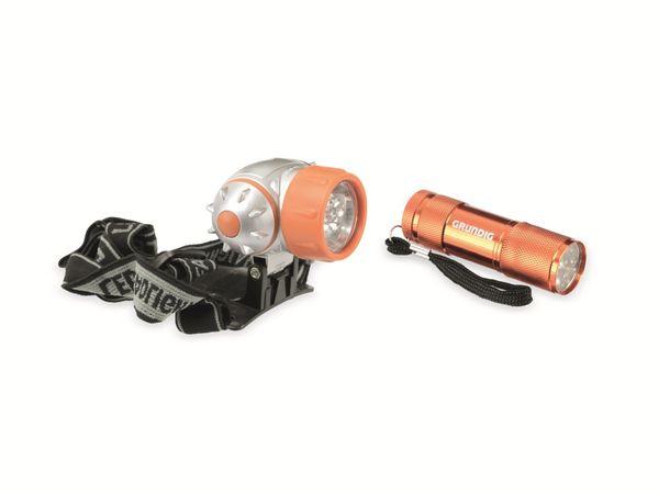 LED-Stirnlampe mit LED-Taschenlampe GRUNDIG, orange - Produktbild 1