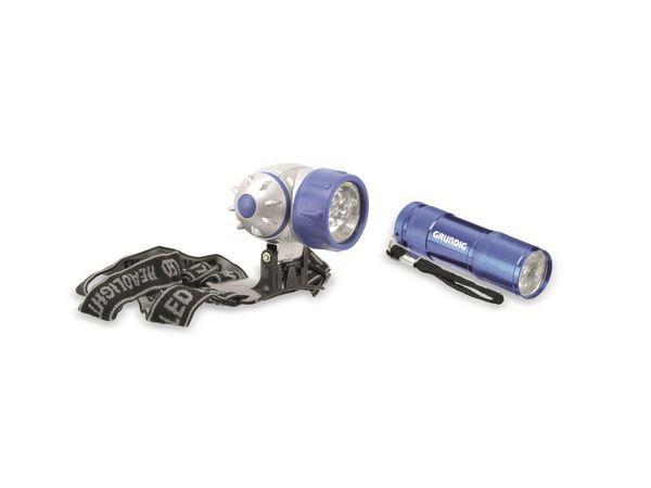 LED-Stirnlampe mit LED-Taschenlampe GRUNDIG, blau - Produktbild 1