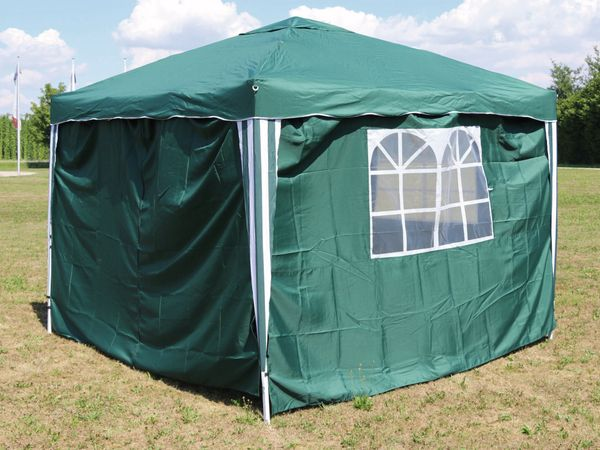 Aluminium-Faltpavillon mit 2 Seitenwänden, 300x300x260 cm, grün - Produktbild 1