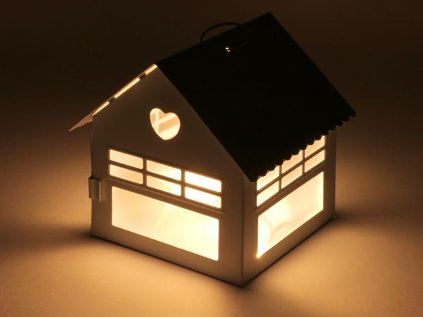 Häusschen mit LED-Beleuchtung, 8 LEDs, warmweiß - Produktbild 1