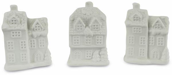"LED-Häuschen Set ""Keramik"" weiß, 10cm, 3 Stück"