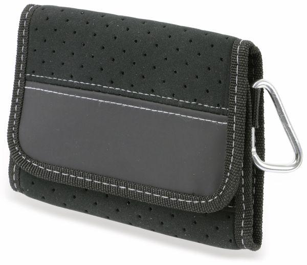 Geldbörse mit Karabinerhaken, Neopren/Nylon, schwarz - Produktbild 1