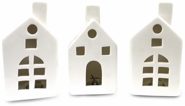 "LED-Häuschen Set ""Keramik"" weiß, 15cm, 3 Stück - Produktbild 1"