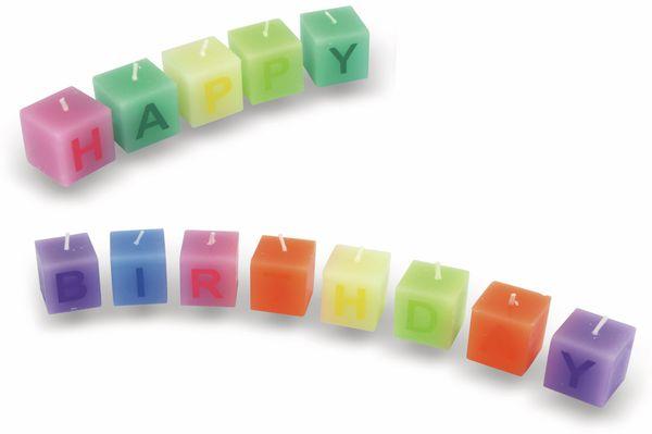 Würfelkerzen Happy Birthday, verschiedene Farben