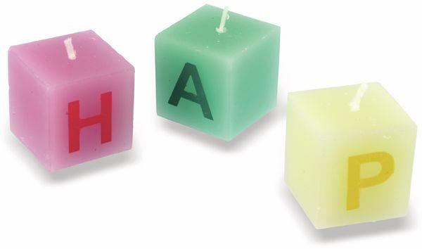 Würfelkerzen Happy Birthday, verschiedene Farben - Produktbild 2