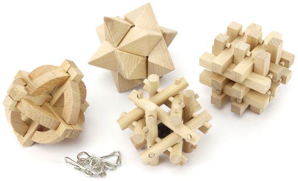 Denkspiele aus Holz und Metall, 8 Spiele, 5 Schwierigkeitsstufen