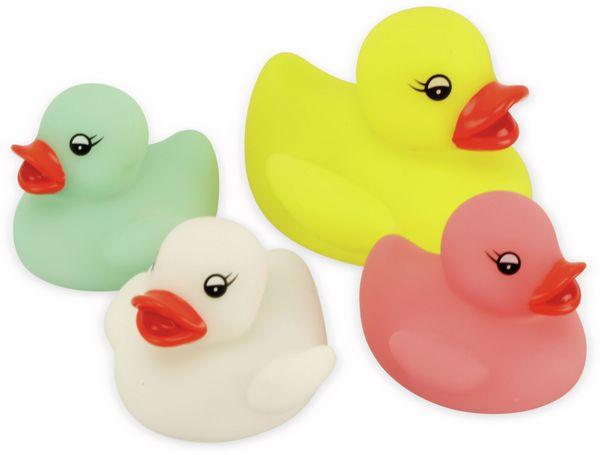 LED Entenfamilie 4er Set farbig, Badewannenspaß