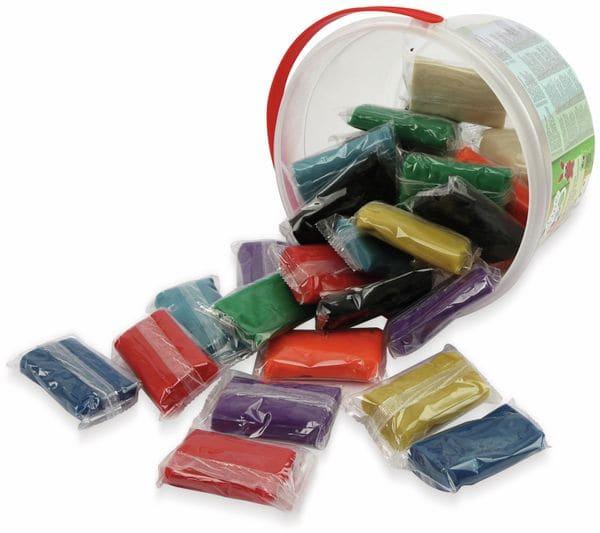 Kinder-Knetmasse-Eimer, 1,5 kg, 30 Knetmasse-Stücke - Produktbild 3