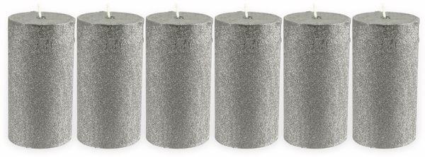 6er-Set, Stumpenkerzen, WIEDEMANN Glitter, silber, 68x130 mm