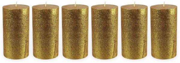 6er-Set, Stumpenkerzen, WIEDEMANN, Glitter, gold, 68x130 mm