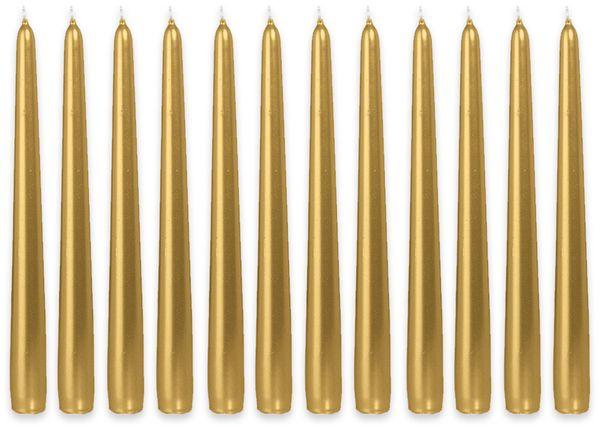 12er-Set, Spitzkerzen, WIEDEMANN, gold, 25x250 mm