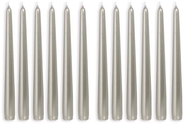 12er-Set, Spitzkerzen, WIEDEMANN, silber, 25x250 mm