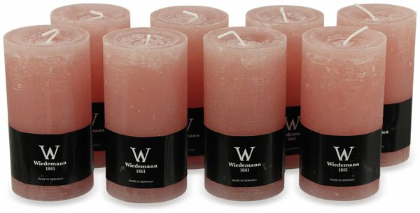 8er-Set, Stumpenkerzen, WIEDEMANN Marble, pastell-rosa, 68x130 mm
