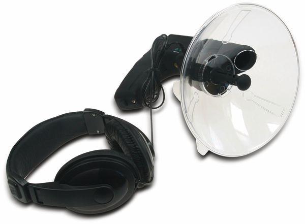Parabol-Richtmikrofon CHILITEC PRM-1, mit Kopfhörer und Aufnahmefunktion