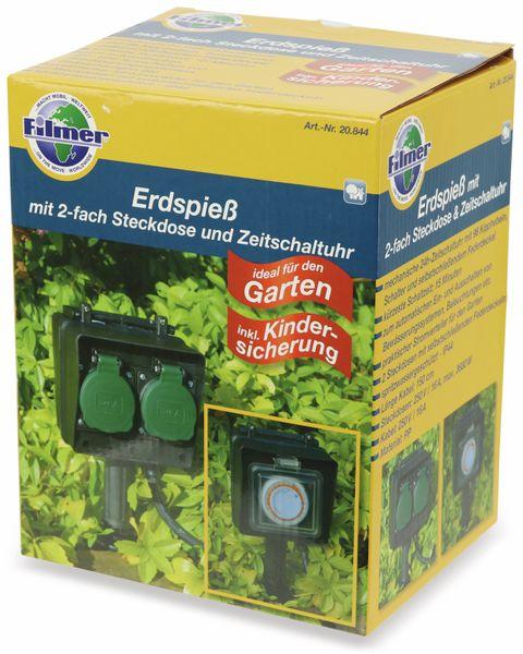 2-Gartensteckdose Filmer mit Erdspieß, und 24h Zeitschaltuhr - Produktbild 4