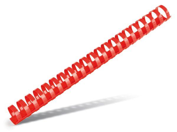 Plastikbinderücken mit 21 Ringen, rund, 28 mm, 25 Stück, rot - Produktbild 1