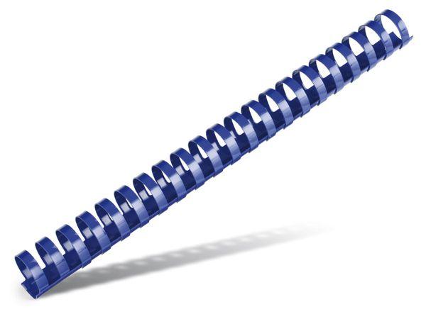 Plastikbinderücken mit 21 Ringen, rund, 22 mm, 25 Stück, blau - Produktbild 1