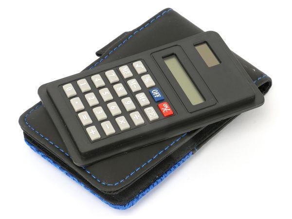 solar taschenrechner mit notizblock blau schwarze h lle online kaufen. Black Bedroom Furniture Sets. Home Design Ideas