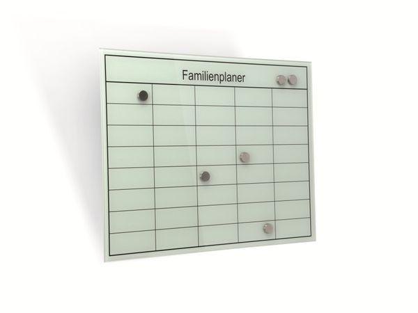 Glas-Magnetboard mit Familienplaner HAMA Belmuro, 50x40 cm, weiß - Produktbild 1