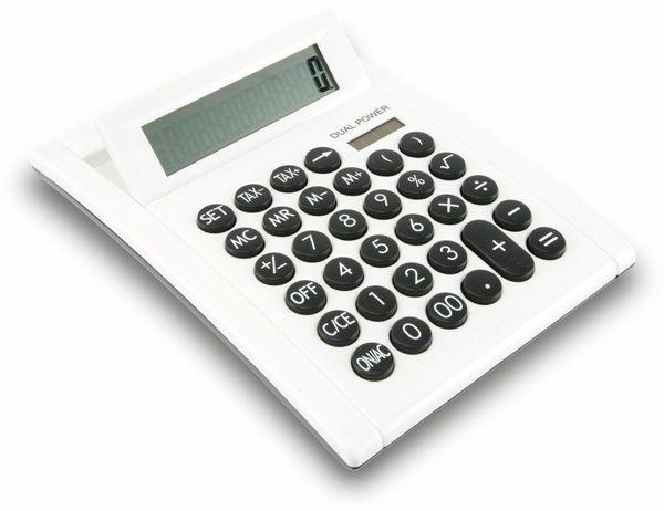 Tischrechner D2-1, Dual-Power, weiß