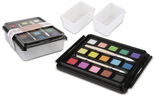 Wasserfarben-Sortiment, 15 Farben, mit 2 Wasserbecken/ 2 Pinsel
