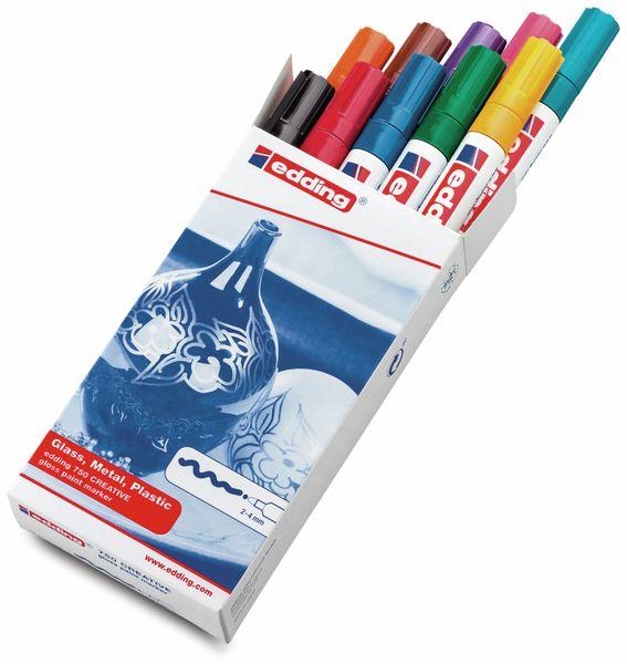 Paint-Marker-Set, EDDING, e-750/10 S CR, 10 Stück, farbig sortiert