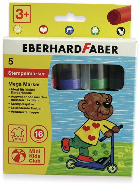 Megamarker mit Stempelspitze, 5 Farben, abwaschbar, Eberhard Faber 550006 - Produktbild 4