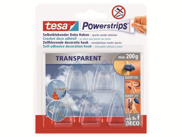 tesa Powerstrips® transparent, Deco-Haken , 58900-00013-20