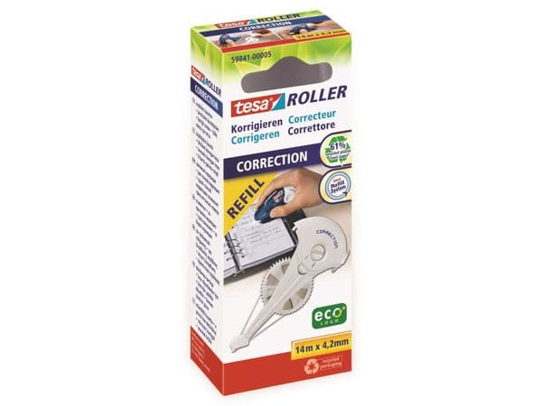tesa Roller Korrigieren ecoLogo® Nachfüllkassette, 14m:4,2mm, 59841-00005-05 - Produktbild 2