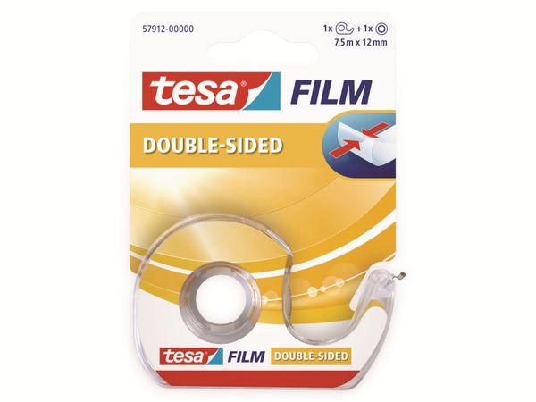 tesafilm® doppelseitig, 1 Rolle + Abroller, 7,5m:12mm, 57912-00000-02